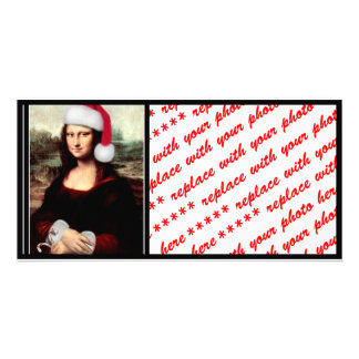 Mona Lisa's Christmas Santa Hat Card