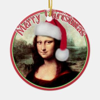 Mona Lisa's Christmas Santa Hat Ceramic Ornament