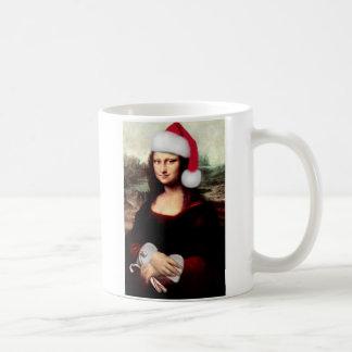 Mona Lisa's Christmas Santa Hat Coffee Mug