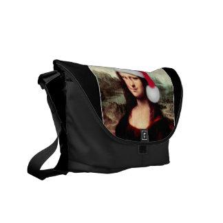 Mona Lisa's Christmas Santa Hat Courier Bag