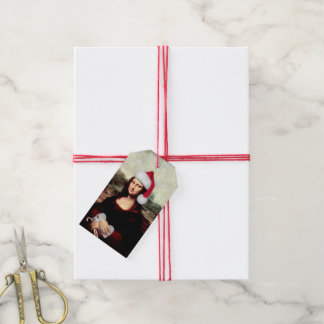 Mona Lisa's Christmas Santa Hat Gift Tags