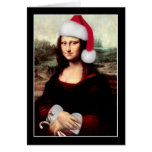 Mona Lisa's Christmas Santa Hat Greeting Card