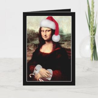 Mona Lisa's Christmas Santa Hat Holiday Card