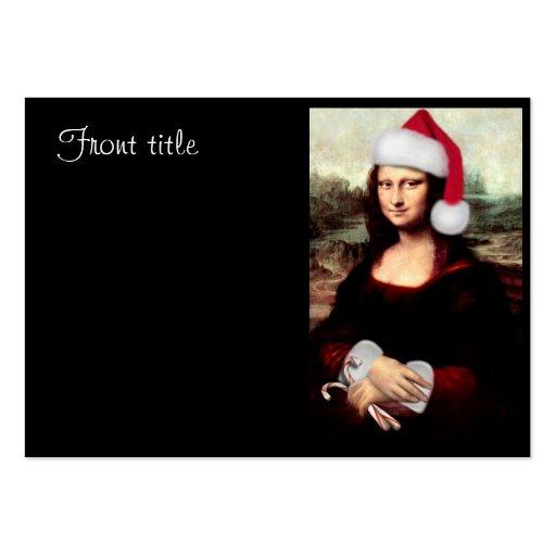 Mona Lisa's Christmas Santa Hat Large Business Card