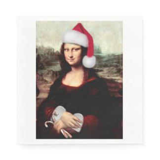 Mona Lisa's Christmas Santa Hat Paper Napkin