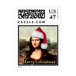 Mona Lisa's Christmas Santa Hat Postage