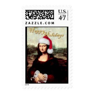 Mona Lisa's Christmas Santa Hat Postage Stamp
