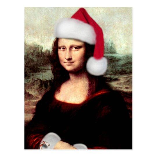 Mona Lisa's Christmas Santa Hat Postcard