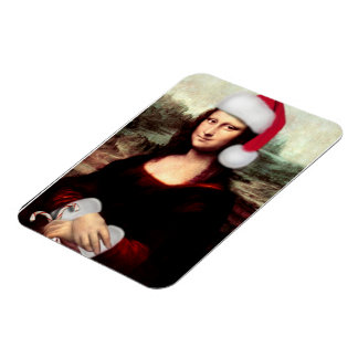Mona Lisa's Christmas Santa Hat Rectangular Photo Magnet