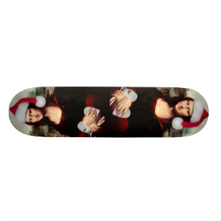 Mona Lisa's Christmas Santa Hat Skateboard Deck