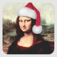Mona Lisa's Christmas Santa Hat Square Sticker
