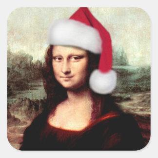 Mona Lisa's Christmas Santa Hat Square Sticker
