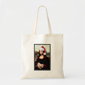 Mona Lisa's Christmas Santa Hat Tote Bag