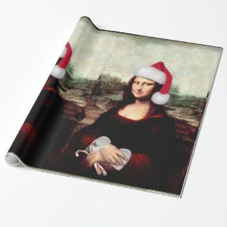 Mona Lisa's Christmas Santa Hat Wrapping Paper