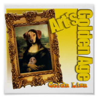 MONA LISA'S GOLDEN RETRIEVER DOG AND PUPPY POSTER