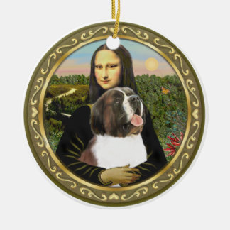 Mona Lisa's Saint Bernard Ornaments