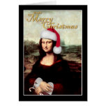 Mona Lisa's Santa Hat Greeting Cards
