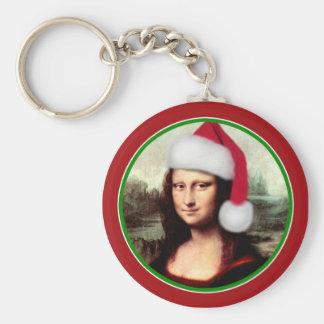 Mona Lisa's Santa Hat Keychains