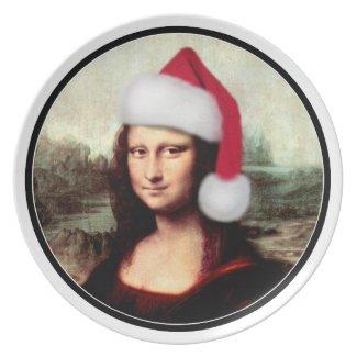 Mona Lisa's Santa Hat Party Plates