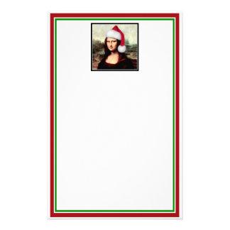 Mona Lisa's Santa Hat Customized Stationery
