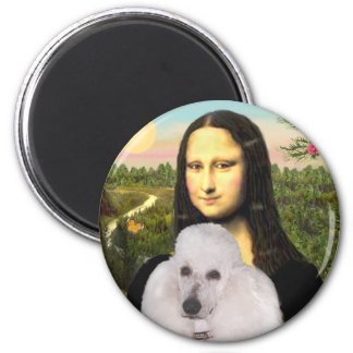 Mona-Pood-White-Standard Poodle 2 Inch Round Magnet