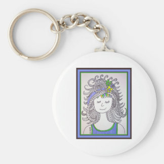 Mona Smiles Basic Round Button Keychain