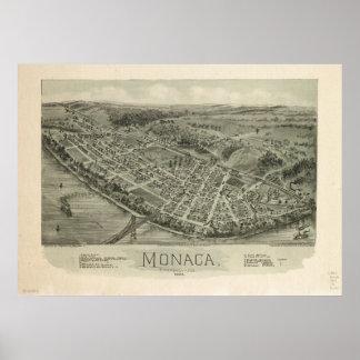 Monaca Pennsylvania 1900 Antique Panoramic Map Poster
