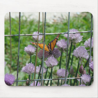 Monach, Chives and Woven Wire Fence Mouse Pad