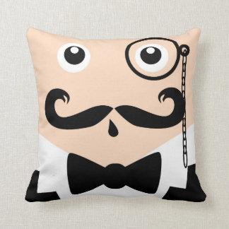 Monacle Man Moustache Design Pillow / Cushion
