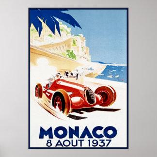 Mónaco 1937, arte de Vintag Póster
