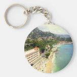 Monaco Beach Basic Round Button Keychain