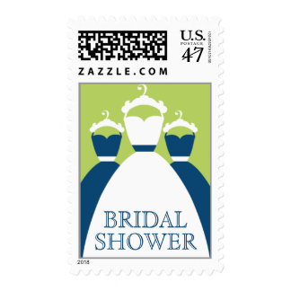 Monaco Blue And Green Bridal Shower Stamps