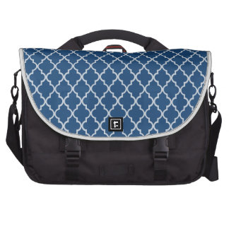 Monaco Blue And White Moroccan Trellis Pattern Bags For Laptop