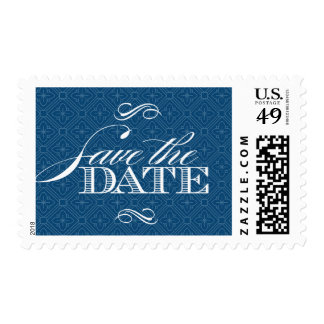 Monaco Blue Baroque Damask Save the Date Postage