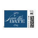 Monaco Blue Baroque Damask Save the Date Stamps