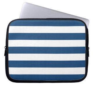 Monaco Blue Stripes Pattern Laptop Computer Sleeves
