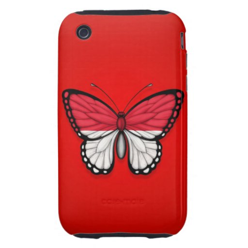 Monaco Butterfly Flag on Red iPhone 3 Tough Case