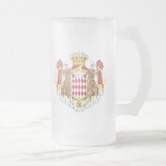 Monaco Coat Of Arms Frosted Glass Beer Mug