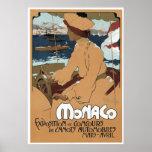 Mónaco/Concours de Canots, arte Nouveau del vintag Impresiones
