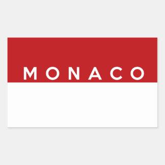 monaco country flag text name rectangular stickers