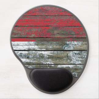 Monaco Flag on Rough Wood Boards Effect Gel Mouse Pad