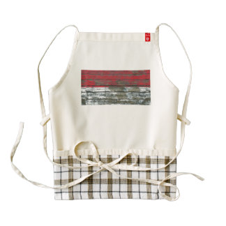 Monaco Flag on Rough Wood Boards Effect Zazzle HEART Apron
