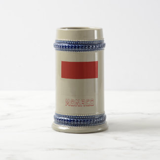 Monaco Flag with Name Beer Stein