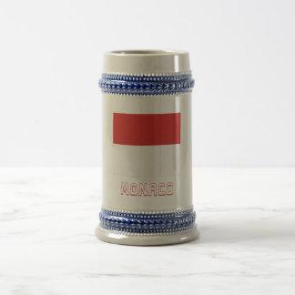 Monaco Flag with Name 18 Oz Beer Stein