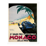 Monaco Grand Prix Automobile Post Card