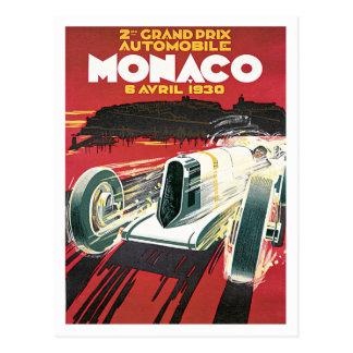 Monaco Grand Prix Automobile Vintage Postcard