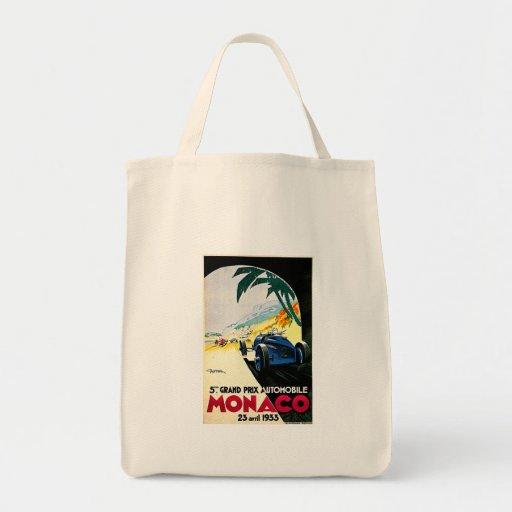 Monaco Grand Prix Car Race Travel Art Canvas Bags