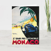 Monaco Grand Prix Car Race Travel Art Card