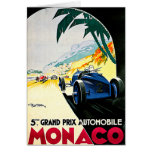 Monaco Grand Prix Car Race Travel Art Card