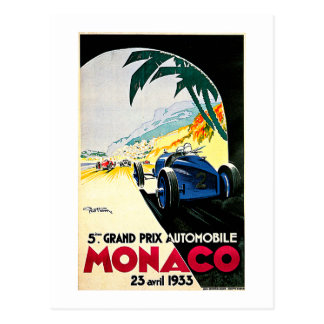 Monaco Grand Prix Car Race Travel Art Postcard